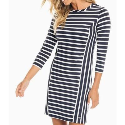 サウザーンタイド レディース ワンピース トップス Pippa Contrast Stripe Performance Knit Jersey UPF Protection 3/4 Sleeve Shift Dress