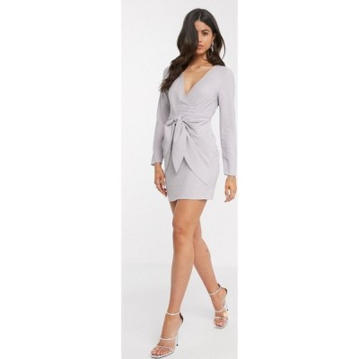 エイソス ASOS DESIGN レディース ワンピース ラップドレス ラップスカート ミニ丈 wrap front mini dress with knot skirt detail in grey シルバー