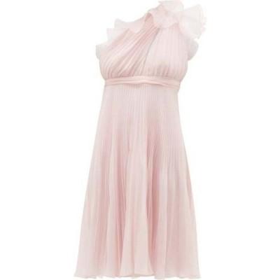 ジャンバティスタ バリ Giambattista Valli レディース パーティードレス ワンショルダー Ruffle-trimmed pleated one-shoulder silk dress Light pink