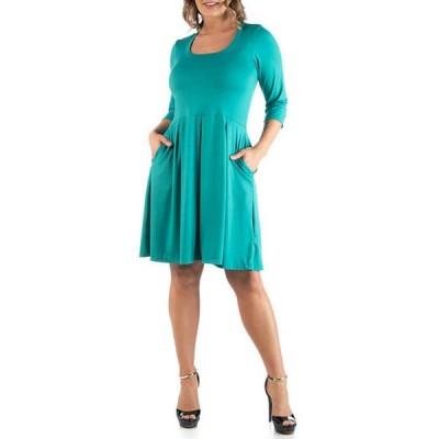 24セブンコンフォート レディース ワンピース トップス Plus Size Fit and Flare Dress