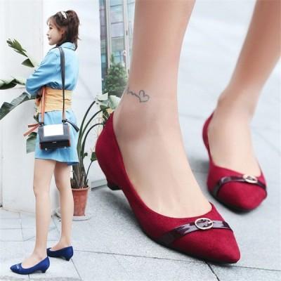 ローヒールパンプス ポインテッドトゥパンプス パンプス スエード 大きいサイズ カジュアル レディース靴 シューズ
