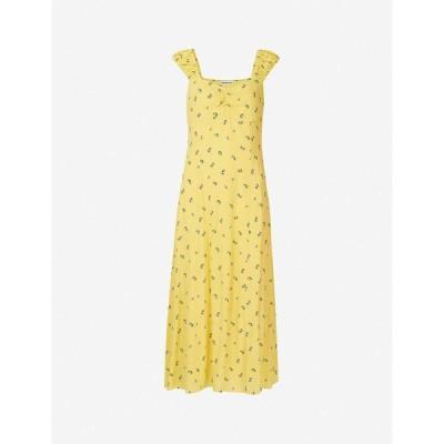 ホイッスルズ WHISTLES レディース ワンピース ミドル丈 ワンピース・ドレス Forget Me Not floral-print crepe midi dress Yellow