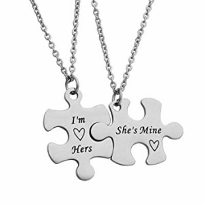 Beeshion Gay Couple Gift Puzzle Necklace Set Gay Couple Necklaces Gay Couples Jewelry LGBT Necklace Set Wedding Gift (I'm Hers S