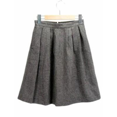 【中古】テチチ Te chichi スカート フレア タック ツイード ラメ ウール混 M グレー レディース