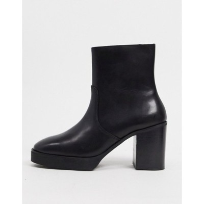 エイソス メンズ ブーツ・レインブーツ シューズ ASOS DESIGN heeled chelsea boots in black leather with black platform sole