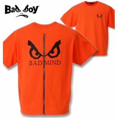 大きいサイズ BAD BOY バックZIPロゴプリント半袖Tシャツ オレンジ 3L 4L 5L 6L/1268-0290-1-45