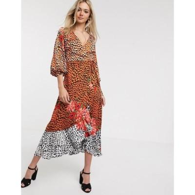 リクオリッシュ レディース ワンピース トップス Liquorish wrap front satin midaxi dress in animal floral Brown multi