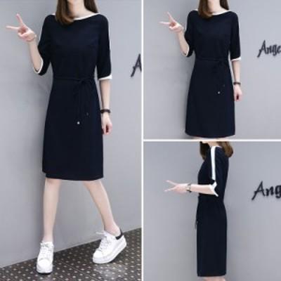 女性カジュアルドレスミドルスリーブウエストストラップファッションドレス