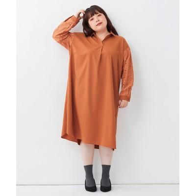 大きいサイズ 袖レースデザインゆったりワンピース ,スマイルランド, ワンピース, plus size dress