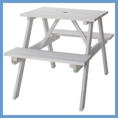 『中型』パラソル穴付テーブル&ベンチ(S)/ホワイト