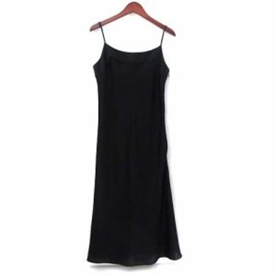 【中古】イエナ IENA La robe habillee ワンピース 黒 ブラック キャミソール ひざ丈 無地 シンプル レディース