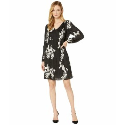 ECI レディース ワンピース トップス Long Sleeve V-Neck Embroidered Crinkle A-Line Dress Black/Ivory