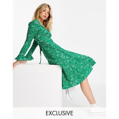 ウェンズデーガール ミディドレス レディース Wednesday's Girl midi tea dress in ditsy floral エイソス ASOS グリーン 緑
