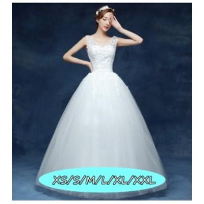 結婚式ワンピース お嫁さん ウェディングドレス 花嫁 ドレス イブニングドレ Vネック ノースリーブ ハイウエスト Aラインワンピース