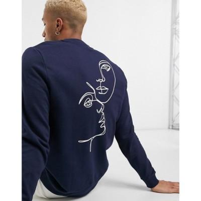 エイソス ASOS DESIGN メンズ スウェット・トレーナー トップス Sweatshirt With Line Drawing Back Print ネイビー