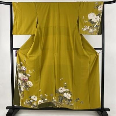 訪問着 美品 名品 牡丹 蝶 刺繍 金彩 からし色 袷 身丈156cm 裄丈65cm M 正絹 中古