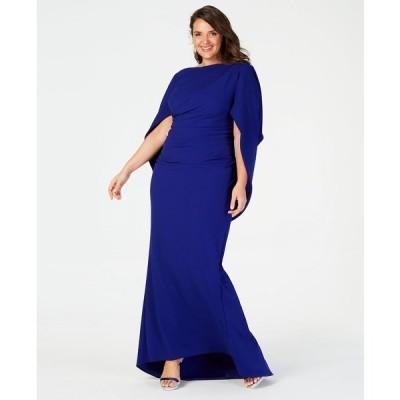 ベッツィ アンド アダム ワンピース トップス レディース Plus Size Capelet Gown Marine Blue