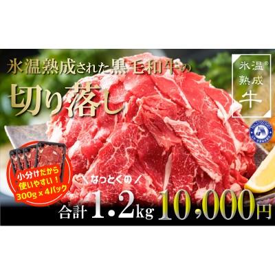 010B689 氷温熟成された黒毛和牛の切り落し1.2kg(300g×4パック)