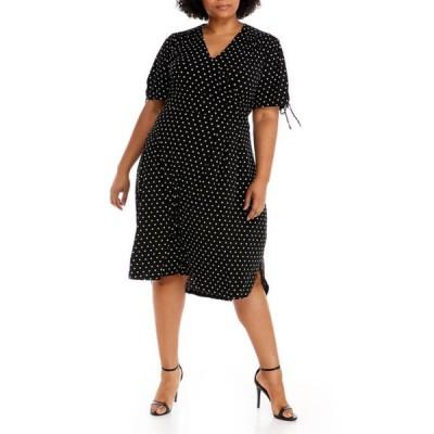 ラファエラ レディース ワンピース トップス Plus Size Short Sleeve Dot High Low Hem Midi Dress