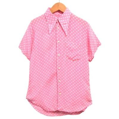 01年 日本製 ジュンヤワタナベ コム・デ・ギャルソン 半袖シャツ ピンク×ホワイト ドット柄 レディースM相当