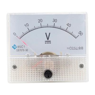 85C1アナログパネルメーター電圧計DCボルト電圧計DC0-50V