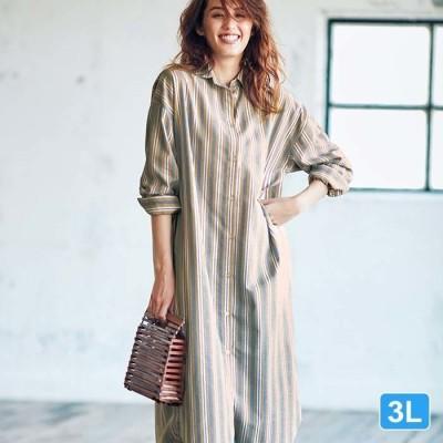 Ranan 【3L】綿混ゆったりロングシャツ ベージュ 3L レディース