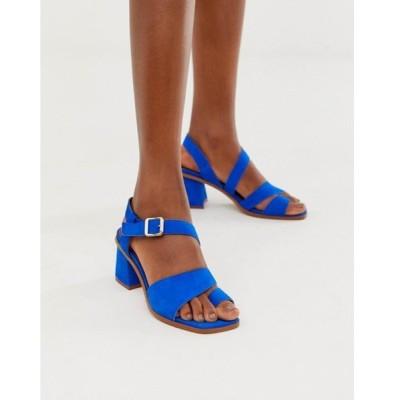 エイソス レディース サンダル シューズ ASOS DESIGN Hickery premium suede toe loop block heeled sandals in blue