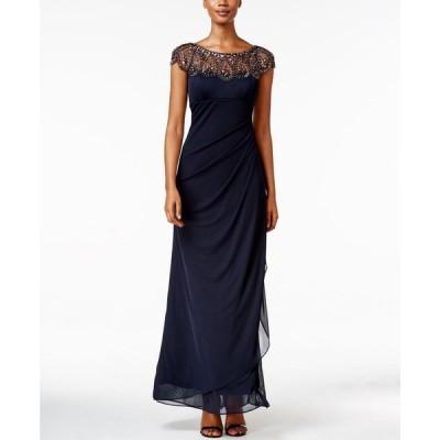 エックススケープ XSCAPE レディース パーティードレス ワンピース・ドレス Petite Embellished Illusion Gown Navy Blue