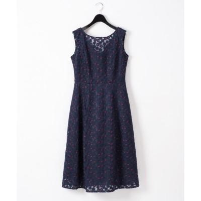 【グレースコンチネンタル】フラワー配色刺繍ドレス