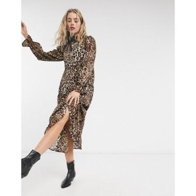 ヴァイオレット ロマンス レディース ワンピース トップス Violet Romance high neck midaxi smock dress in leopard print