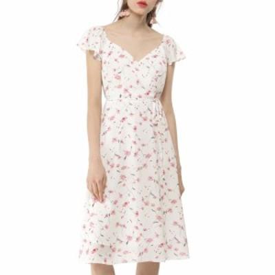 Allegra K シフォン 柄 ワンピース 花柄 ドレス 袖フリル サイドスリット レディース ホワイト XS