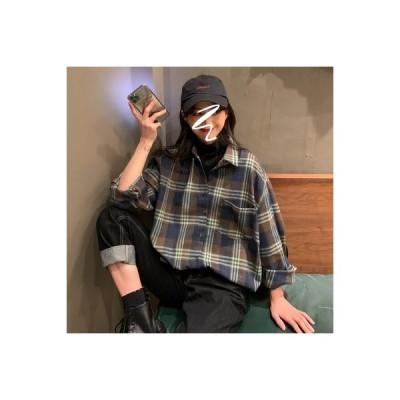 【送料無料】秋服 年 女 韓国風 ルース 着やせ 研削毛格子 シャツ 長袖シャツ ア   364331_A63581-8751542