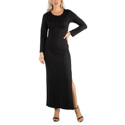 24セブンコンフォート レディース ワンピース トップス Women's Form Fitting Long Sleeve Side Slit Maxi Dress