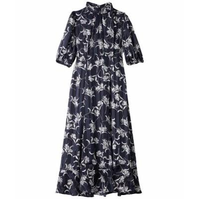 マギーロンドン ワンピース トップス レディース Tea Length A-Line Dress w/ Puffed Sleeve and Bow Tie Detail Navy/Pink