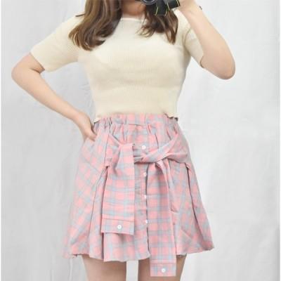 韓国ファッション 腰巻き風 チェックスカート