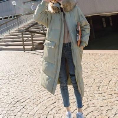 オススメ 人気 コート ロング ジッパー ダウン 防寒 ファー 女子会 デート 通学 カジュアル hf1259