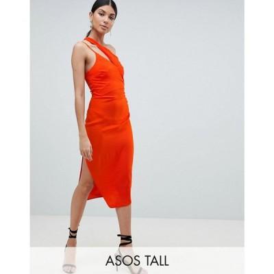 エイソス レディース ワンピース ワンピース・ドレス ASOS TALL Hammered Satin Sexy Pencil Dress with Cami Straps and Spliced Shoulder Orange