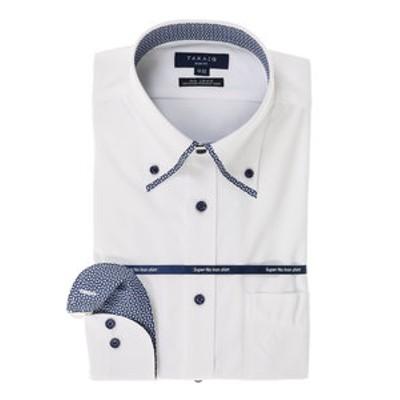 ストレッチ形態安定スリムフィットマイターボタンダウン長袖ニットビジネスドレスシャツ