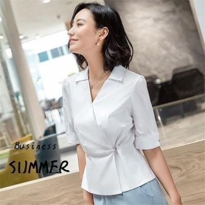 シャツ レディース半袖ブラウス トップス    綿 通勤OL シンプル きれいめ Vネック ゆったり 大きいサイズ シャツ単品 20代30代40代
