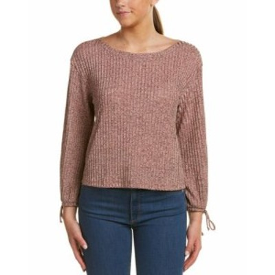 Ella Moss エラモス ファッション トップス Ella Moss Blouse Sleeve Ribbed Sweatshirt Xs Pink