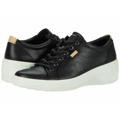 エコー スニーカー シューズ レディース Soft 7 Wedge Classic Sneaker Black Cow Leather
