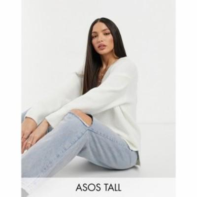 エイソス ASOS Tall レディース ニット・セーター Vネック トップス Tall Oversized Jumper With V Neck In Cream クリーム