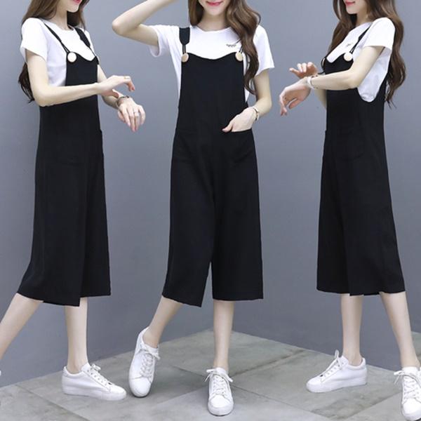 (特價)M-3XL韓版夏裝時尚洋氣氣質小個子顯高搭配兩件式(無印風短袖上衣+吊帶連身褲)(版型偏小)-凱西娃娃