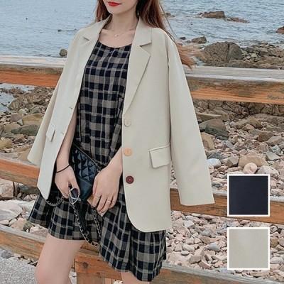 韓国 ファッション レディース アウター ジャケット 春 秋 冬 カジュアル テーラード 大き目ボタン オーバーサイズ naloJ146 20代 30代 40代