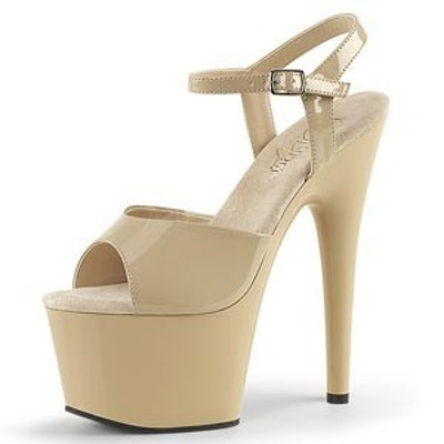 サンダル Pleaser プリーザー ADORE-709 7 Heel (ado709-cr-m) エナメル ストラップ 厚底 ハイヒール 靴 お取り寄せ商品