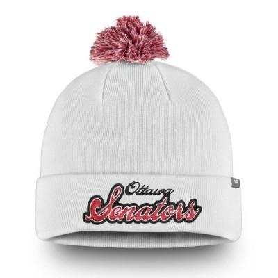 ファナティクス ブランデッド レディース 帽子 アクセサリー Ottawa Senators Fanatics Branded Women's Team Dazzle Cuffed Knit Hat with Pom