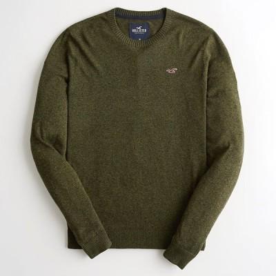 ホリスター メンズ ライトウェイト クルーネック アイコンセーター ニット Hollister Light Weight Crew-Neck Icon Sweater ヘザーオリーブ