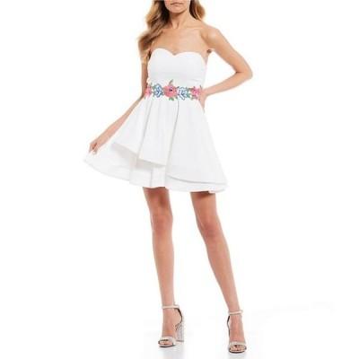 ビーダーリン レディース ワンピース トップス Strapless Embroidered Waist Double Hem Dress