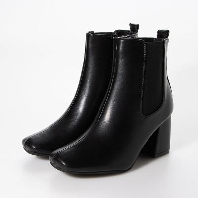 マフモフ Mafmof Realta(レアルタ) サイドゴア防水チャンキー ブーツ (ブラック・PU)