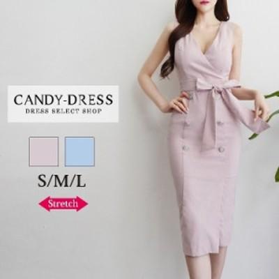 【予約】S/M/L 送料無料 Luxury Dress ストレッチ無地×カシュクールウエストリボンノースリーブタイトミディドレス PE200605 韓国 ブラ